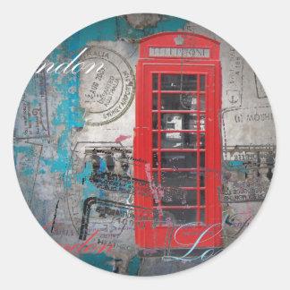 Vintage rojo de la señal de la cabina de teléfono pegatina redonda
