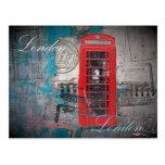Vintage rojo de la señal de la cabina de teléfono  postal