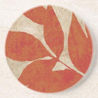 Vintage rojo de las hojas de otoño posavasos diseño