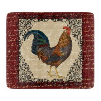 Vintage rojo del gallo tabla de cortar