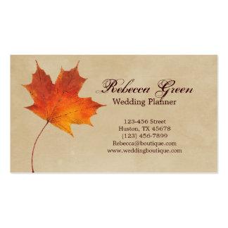 Vintage rojo elegante de la caída de las hojas de  tarjetas de visita