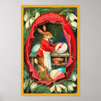Vintage rojo Pascua de los huevos de Pascua de la Póster