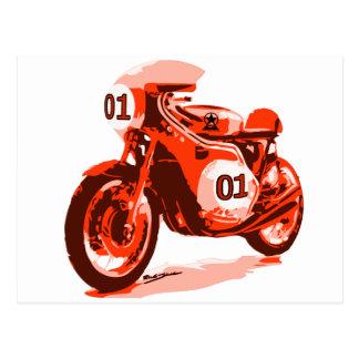 Vintage rojo que compite con la motocicleta postal