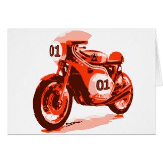 Vintage rojo que compite con la motocicleta tarjeta de felicitación