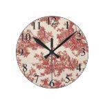 Vintage rojo Toile Relojes De Pared