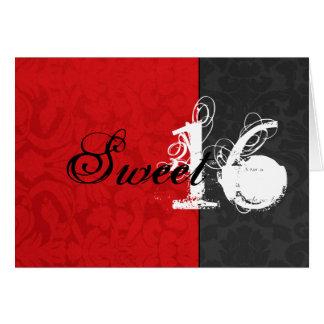 Vintage rojo y tarjeta feliz negra del dulce dieci
