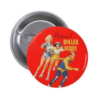 Vintage Roller Derby Program cover art Pinback Button