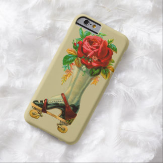 Vintage Roller Skate With Red Rose Flowers Barely There iPhone 6 Case