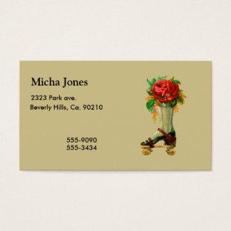 Vintage Rollerskate With Red Rose Business Card