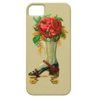 Vintage Rollerskate With Red Rose iPhone 5 Cases