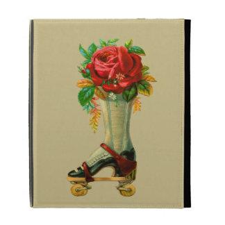 Vintage Rollerskate With Red Rose iPad Case