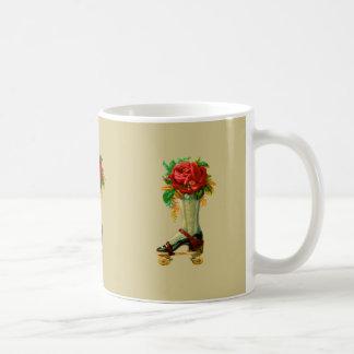 Vintage Rollerskate With Red Rose Coffee Mug