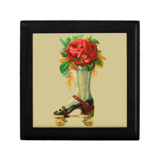 Vintage Rollerskate With Red Rose Gift Box