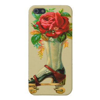 Vintage Rollerskate With Red Rose iPhone 5 Cover