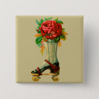 Vintage Rollerskate With Red Rose Pinback Button