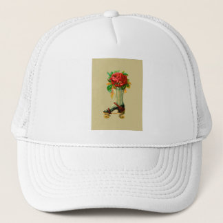 Vintage Rollerskate With Red Rose Trucker Hat