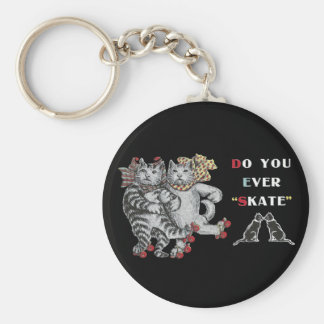 Vintage Rollerskating Cats Keychain