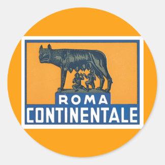 Vintage Roma Continentale Pegatina Redonda