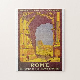 Vintage Roma por el anuncio del viaje del tren Puzzle