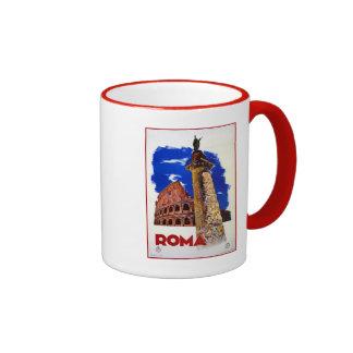 Vintage Roma Rome Italian travel Ringer Coffee Mug