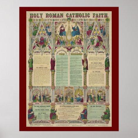 Vintage Roman Catholic Faith Infographic Poster