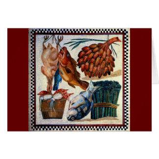 Vintage Roman Rural Country Kitchen Fish Mosaic Card