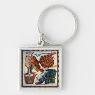 Vintage Roman Rural Country Kitchen Fish Mosaic Key Chains