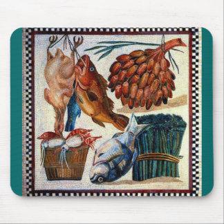 Vintage Roman Rural Country Kitchen Fish Mosaic Mouse Pad