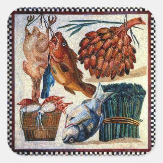 Vintage Roman Rural Country Kitchen Fish Mosaic Square Sticker