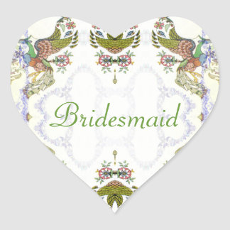Vintage Romance Birds & Flowers Wedding Heart Sticker