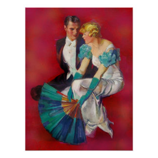 Vintage Romance Couple in Evening Dress with Fan Poster