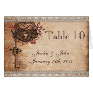 Vintage Romance Key & Hearts Wedding Table Number Card