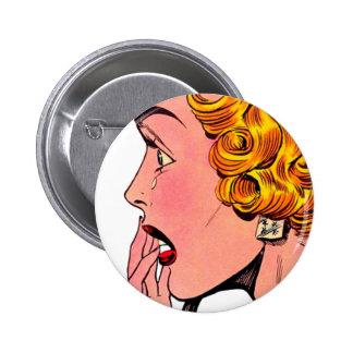 Vintage Romance Novel Girl Comic Art Pin