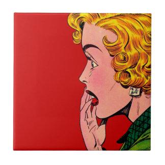 Vintage Romance Novel Girl Comic Art Ceramic Tile