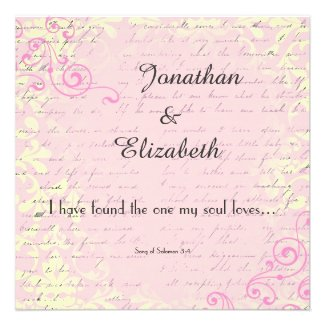 Vintage Romance with Bible Verse Wedding Personalized Invitations