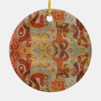 Vintage Romanian embroidery, traditional design Ceramic Ornament