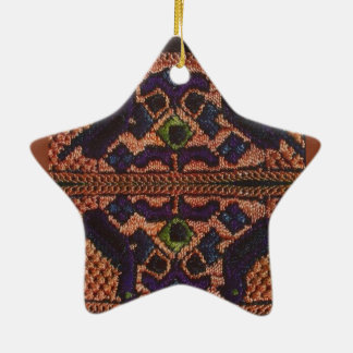 Vintage Romanian embroidery, wool, pattern Ceramic Ornament