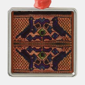 Vintage Romanian embroidery, wool, pattern Metal Ornament