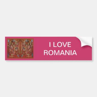 Vintage Romanian needlework, embroidery Car Bumper Sticker