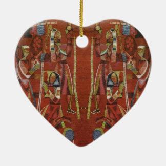 Vintage Romanian needlework, embroidery Ceramic Ornament