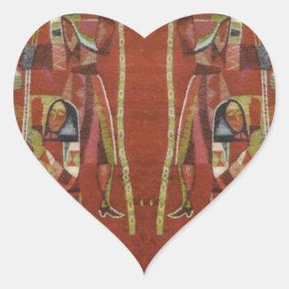 Vintage Romanian needlework, embroidery Heart Sticker