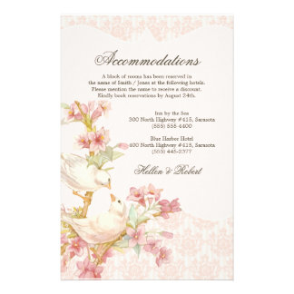 Vintage Romantic Birds in Love Wedding Directions Stationery