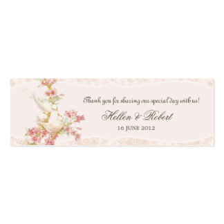 Vintage Romantic Birds in Love Wedding Favor Tag Double-Sided Mini Business Cards (Pack Of 20)