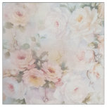 Vintage romantic blush pink ivory roses floral fabric