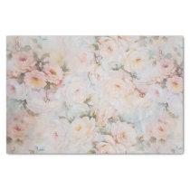 Vintage romantic blush pink ivory roses floral tissue paper