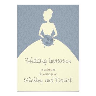 vintage romantic bride damask  wedding invitation