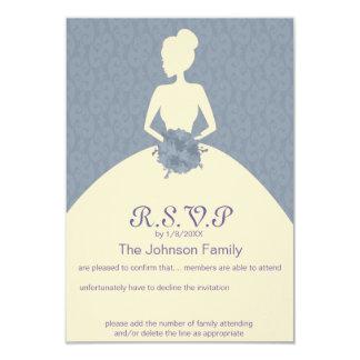 vintage romantic bride damask  wedding rsvp card