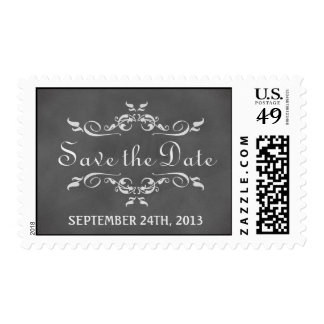 Vintage romantic chalkboard save the date wedding postage