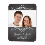 Vintage romantic chalkboard scroll save the date magnets