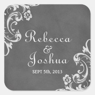 Vintage romantic chalkboard wedding favor label square sticker